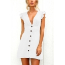 Elegant Classy Sleeveless Deep V-Neck Ruffled Trim Button Up Ruched Solid Color Short A-Line Dinner Dress for Ladies