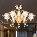 8-Bulb Semi Mount Lighting Modernism Bedroom Flush Ceiling Lamp with Floral Crystal Shade in Gold