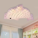 Acrylic Fish Shaped Flush Ceiling Light Modernist White/Pink/Blue LED Flush Mount Lamp with Crystal Deco for Bedroom