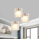 3 Light Cluster Pendant Modern Layered Square Shade Crystal Hanging Ceiling Light in Chrome