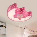 Modernist Moon and Star Flush Mount Ceiling Lamp Acrylic Nursery LED Ceiling Mounted Fixture in Pink/Blue/White