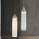 Minimalist Tube Pendant Light Clear/Light-Grey Ribbed Glass 1 Head Dining Room Suspension Lamp