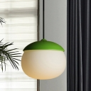 Macaron Oval Cream Glass Drop Pendant 1-Light Suspension Lighting with Green Cap for Dining Room