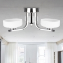 Shallow Bowl Semi Mount Lighting Simplicity White Glass 3 Heads Living Room Ceiling Flush Light with Chrome Curved Arm