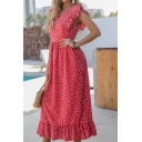 Glamorous Womens Sleeveless V-Neck Ruffled Trim Polka Dot Patterned Maxi A-Line Dress in Red