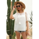 Stylish Ladies White Short Sleeve Round Neck Bow Tie Front See-Through Lace Patched Relaxed Blouse Top