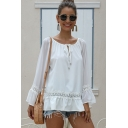 Trendy Ladies Long Sleeve Round Neck Tied Front Lace Trim Ruffled Loose Fit White Blouse