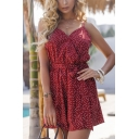 Stylish Ladies Red Sleeveless V-Neck Polka Dot Printed Bow Tie Waist Relaxed Fit Cami Romper