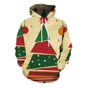 Fashionable Khaki Long Sleeve Drawstring 3D Christmas Tree Geo Patterned Colorblocked Relaxed Fit Hoodie with Pocket