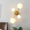 Designer Molecule Milk Glass Wall Light 4-Light Wall Sconce in Black/Gold for Living Room