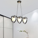 Modernist 3/4-Head Island Pendant Black/White In-Line Loving Heart Hanging Lamp with Dome Opal Glass Shade