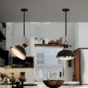Dome Kitchen-Island Suspension Light Industrial Metal 1-Light Black Hanging Ceiling Lamp with Rotatable Handle