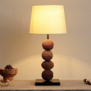 Barrel Shade Table Lamp Nordic Fabric 1 Head White Nightstand Light with Brown Nut Base