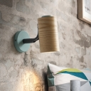 Cylindrical Mini Wall Lamp Macaron Wooden Single Yellow/Blue/Green Sconce Light Fixture with Curved Arm