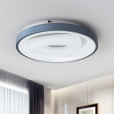 Modern LED Flush Lamp Fixture Blue and White Triangle/Bubble/Round Flush Mount with Acrylic Shade