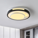 Loop Ceiling Mounted Fixture Modern Acrylic LED Black and White Flushmount Lighting for Bedroom, Warm/White Light