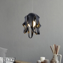 Octopus Shape Resin Suspension Light Macaron 1-Light Black/Grey/Red Pendulum Lamp for Dining Room