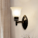 Black Finish 1/2 Light Up Sconce Lighting Traditional White Glass Floral Wall Mounted Lamp