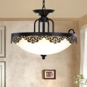 2-Light Cream Glass Chandelier Country Style Black Bowl Dining Room Hanging Pendant with Hollowed Out Floral Side