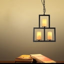 3 Bulbs Grid Chandelier Pendant Countryside Black Iron Hanging Lamp Kit with Natural Marble Lampshade