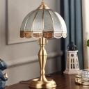 Hemisphere Bedside Table Light Vintage Water Glass 1 Head Brass Nightstand Lamp with Scalloped Edge