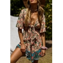 Bohemian Holiday Womens Bell Sleeve Deep V-Neck Tied Front All Over Floral Print Ruffled Short Pleated A-Line Dress in Pink