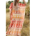Ethnic Womens Batwing Sleeve V-Neck Flower Print Maxi Oversize Kaftan Dress in Red