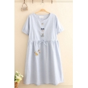 Preppy Leisure Short Sleeve Round Neck Button Up Mouse Embroidery Bow Tie Patched Drawstring Waist Stripe Print Mid Swing Dress in Blue