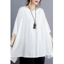 Leisure Ladies Solid Color Short Sleeve Round Neck Linen Pleated Irregular Hem Oversize Blouse Top