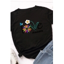 Leisure Girls Rolled Short Sleeve Round Neck Letter LOVE Floral Graphic Slim Fitted T Shirt