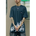 Wonderful Quality Letter Short Sleeve Crew Neck Label Panel Cool Relaxed Fit Tee Top for Guys