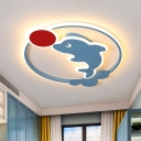 Dolphin and Red Ball Flush Lamp Cartoon Acrylic LED Blue Flush Mounted Light in Warm/White Light