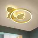 Cartoon Dinosaur Flushmount Light Acrylic LED Bedroom Ceiling Flush Mount in Gold, Warm/White Light