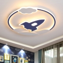 Acrylic Rocket Shape Flush Ceiling Light Cartoon LED Blue Flush Mounted Lamp in Warm/White Light