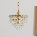4-Head Cut Crystal Chandelier Lamp Traditional Gold Tiered Living Room Hanging Ceiling Light