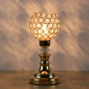 Gold 1 Bulb Night Light Traditional Beveled Crystal Sphere Nightstand Lamp for Bedroom