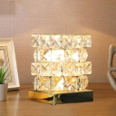 Magic Cube Shape Bedside Night Light Modern Faceted-Crystal 1-Light Gold/Silver Table Lamp