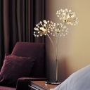 Crystal Bead Dandelion Nightstand Light Modernism LED Bedside Night Lamp in Silver