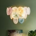 3-Tier Flake Wall Sconce Light Modern Stylish Pink-Blue Textured Glass 5 Bulbs Sitting Room Wall Mounted Light