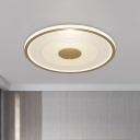Minimal LED Flushmount Lighting White and Gold Disc Ceiling Mounted Lamp with Acrylic Shade, White/Warm Light