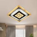 Acrylic Rhombus Flush Mounted Lamp Modernist LED Flush Ceiling Light in White-Black with Crackle Design
