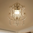 Crystal Strand Gold Chandelier Scrollwork 3 Heads Vintage Pendant Lighting Fixture
