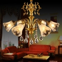 Brass 6 Lights Chandelier Lamp Modern Frosted Glass Flower Suspension Light with Crystal Drop
