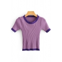 Ladies Sexy Short Sleeve Round Neck Contrasted Knitted Slim Fit Crop Tee Top