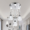 Blossom Clear Crystal Semi Flush Modernism 3/4 Heads Dining Room Ceiling Light in Chrome