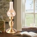 Crackle Glass Kerosene Night Lamp Coastal 1 Head Living Room Table Lighting in Gold