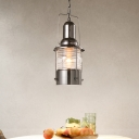 Clear Ribbed Glass Chrome Drop Pendant Lantern 1 Bulb Loft Style Hanging Light Fixture