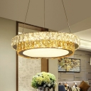 Dual-Layered Crystal Chandelier Modern LED Dining Room Ceiling Light in Gold, 16