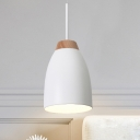 Modern 1 Head Down Lighting White/Black and Wood Bell Ceiling Suspension Lamp with Metal Shade