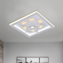 Crystal White Ceiling Lamp Square LED Contemporary Flush Mount Lighting with Heart Pattern